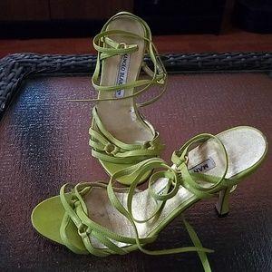 Manolo Blahnik lime green strap heels